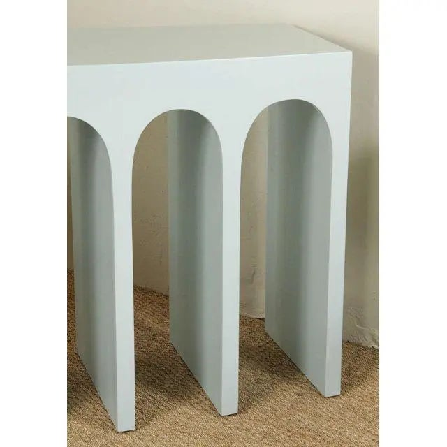 Not Yet Made - Made To Order Minimalist Curved Front Console With Arches in Hedge Green by Martin and Brockett For Sale - Image 5 of 6