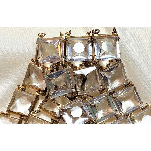 Metal Mid-Century Clear Faceted Crystal Bracelet For Sale - Image 7 of 9