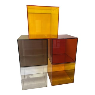 HStudio Five Acrylic Cubes Bookcase by Shlomi Haziza For Sale