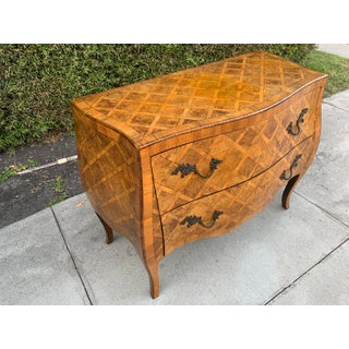 1960s Cannell and Chaffin Italian Marquetry Burl Olive Inlaid Wood Commode Preview