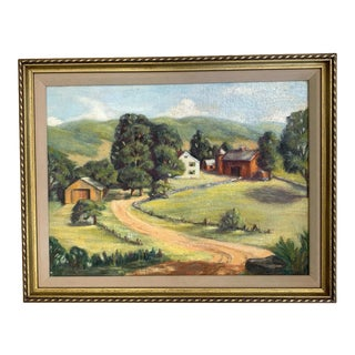 Late 20th Century Farm Landscape Painting, Framed For Sale