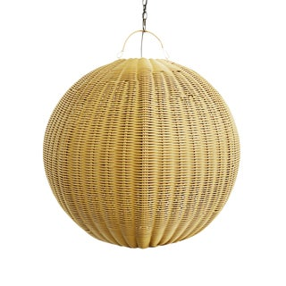 Faux Rattan Globe Lantern Medium For Sale