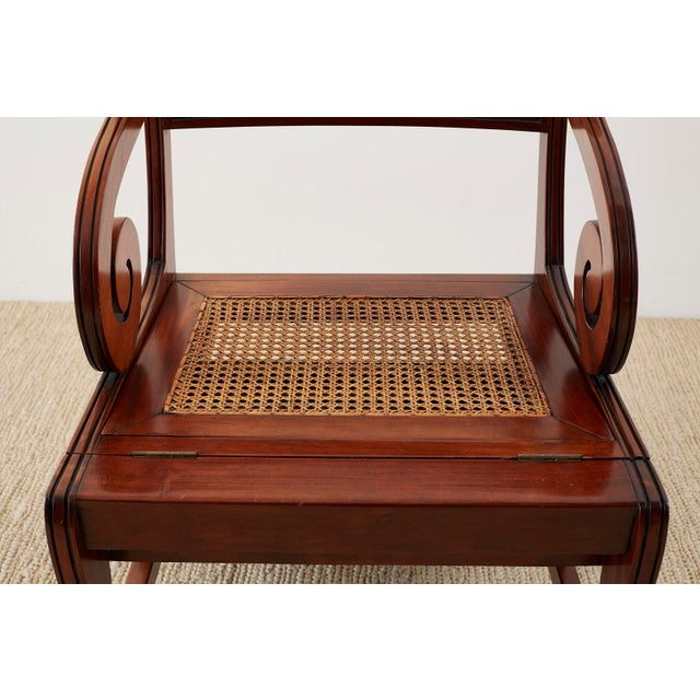 Green English Regency Style Mahogany Metamorphic Library Step Chair For Sale - Image 8 of 13