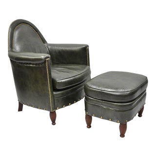 Late 20th Century Vintage Bradington Young Leather Club Chair & Ottoman - 2 Pieces For Sale