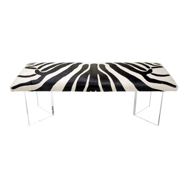 V Zebra Black & White Bench For Sale