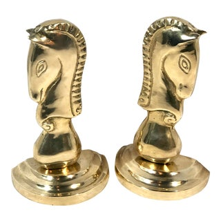 "Vintage Brass Knight Horse Head ""Chess"" Book Ends Mid Century Modern Pair For Sale"