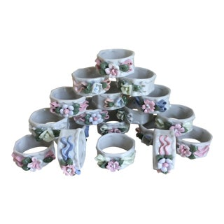 Hand Made Porcelain Flower Napkin Rings-Set of 18 For Sale