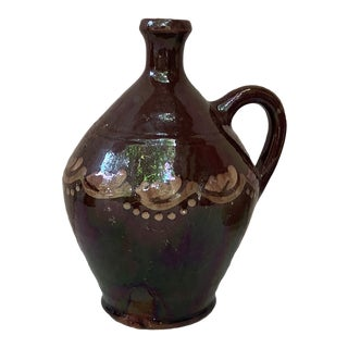 French Pottery Rustic Handled Pitcher Circa 1900 For Sale