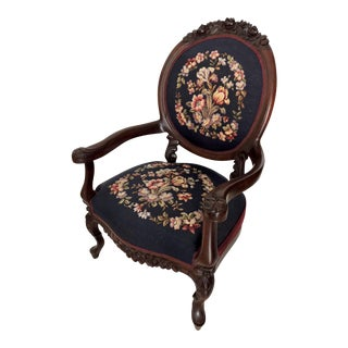 Mahogany Needlepoint Arm Chair