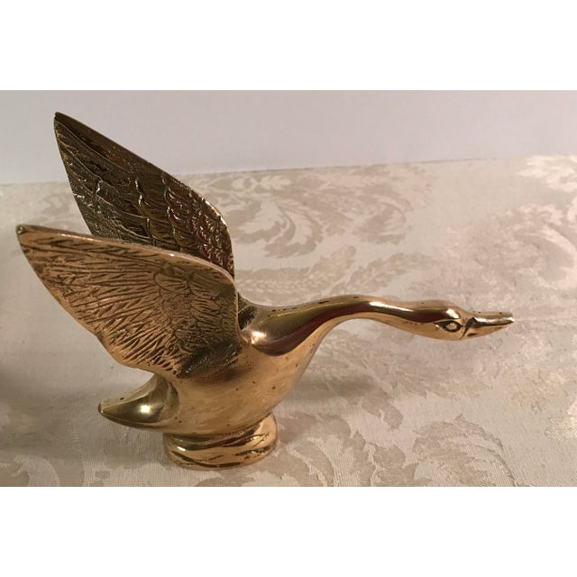Country Mid-Century Modern Brass Landing Duck For Sale - Image 3 of 8