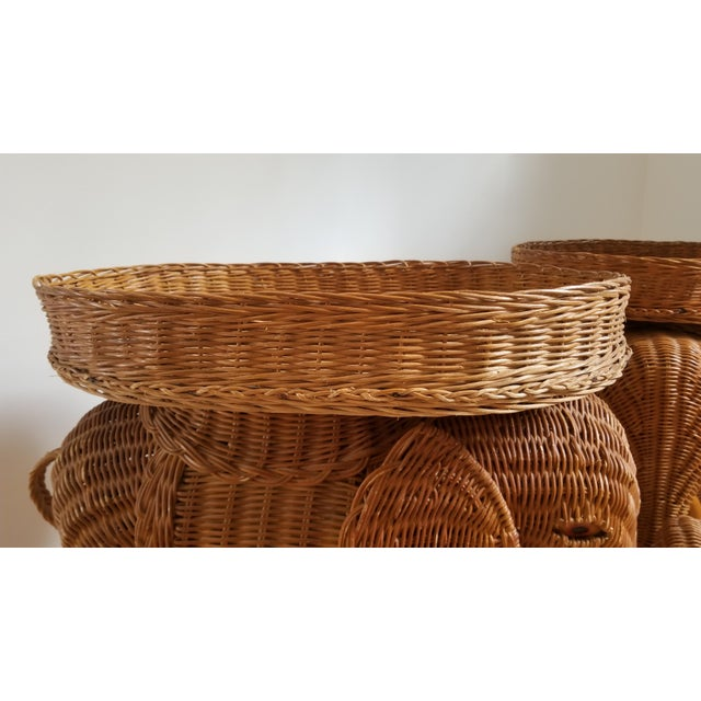 1960s Boho Chic Woven Elephant Tray Tables - a Pair For Sale - Image 4 of 10