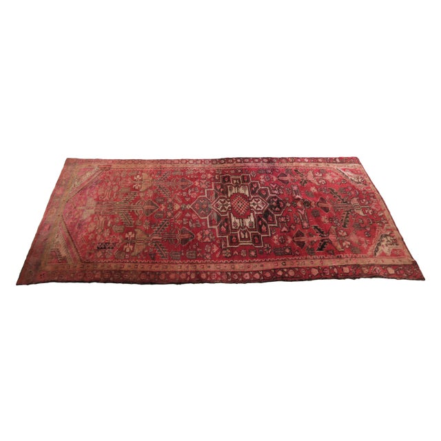 Antique 4 X 8 Red Pink and Brown Hand Knotted Wool Runner Rug For Sale
