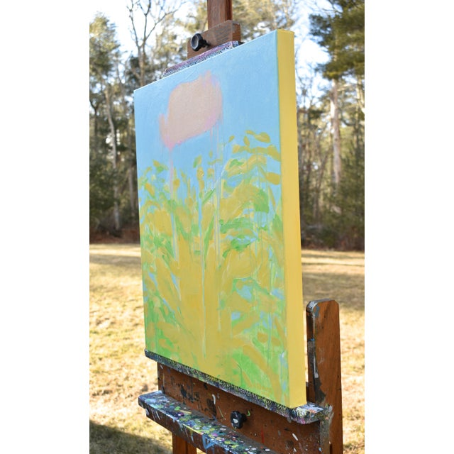"""Blue Contemporary Abstract """"Keep on the Sunny Side"""" Painting by Stephen Remick For Sale - Image 8 of 11"""