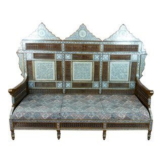 Mother of Pearl Inlaid Syrian Sofa For Sale