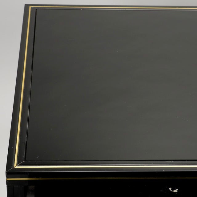 Brass Pierre Vandel French Black Lacquered and Brass Desk For Sale - Image 7 of 11