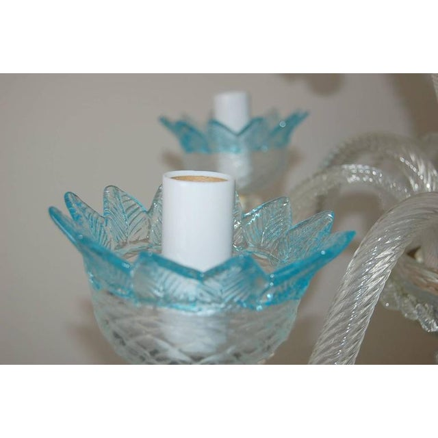 Chandelier Vintage Murano Glass Clear Blue For Sale - Image 9 of 10