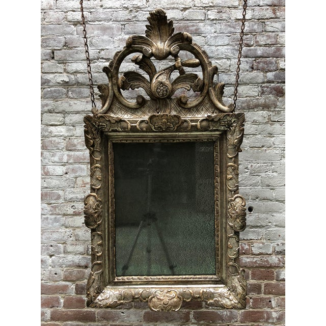 Rare 18th Century Silver Leaf Gilded Louis XIV Mirror For Sale - Image 9 of 11
