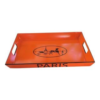 Paris Equestrian Hermès Inspired Orange Serving Tray