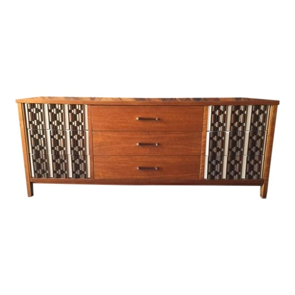 Mid Century Refinished Mahogany Brutalist 9 Drawer Dresser - Image 1 of 7