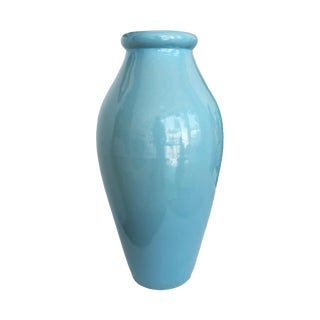 Vintage Robin's Egg Blue Tall Vase by Roseville Pottery For Sale