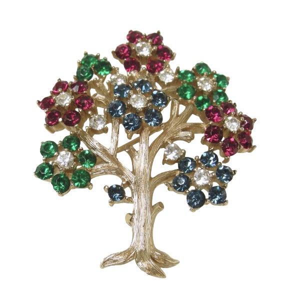 "Vintage Signed Trifari 'Tree of Life"" Brooch For Sale"