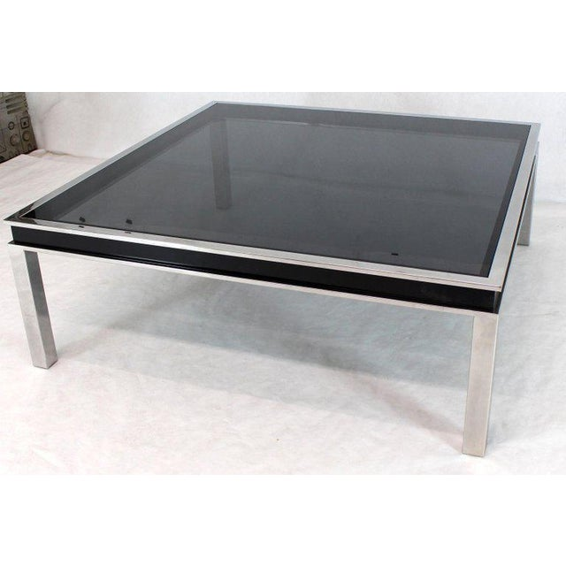 1970s Extra Large Polished Chrome Square Smoked Glass Coffee Table For Sale - Image 11 of 13