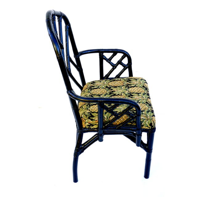 Chinese Vintage Bamboo Chippendale Arm Chairs - A Pair For Sale - Image 3 of 12