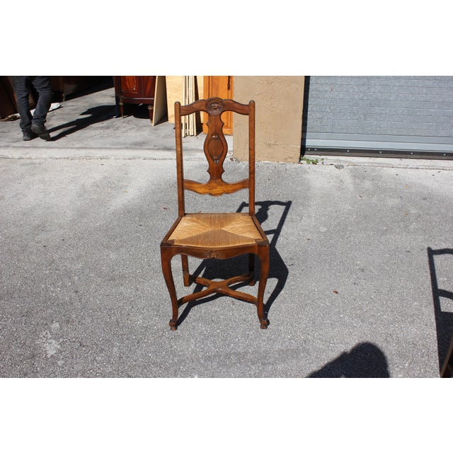 Early 20th C. Vintage French Country Rush Seat Walnut Dining Chairs- Set of 6 For Sale - Image 10 of 13