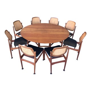 Mid Century Danish Modern Hvidt France Vodder Dining Table & Chairs Set For Sale
