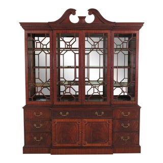 1990s Vintage Henkel Harris Mahogany Breakfront China Cabinet For Sale