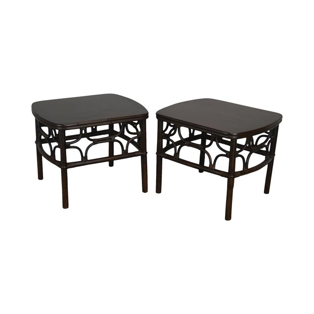 Vintage Rattan Pair Side Tables For Sale - Image 13 of 13