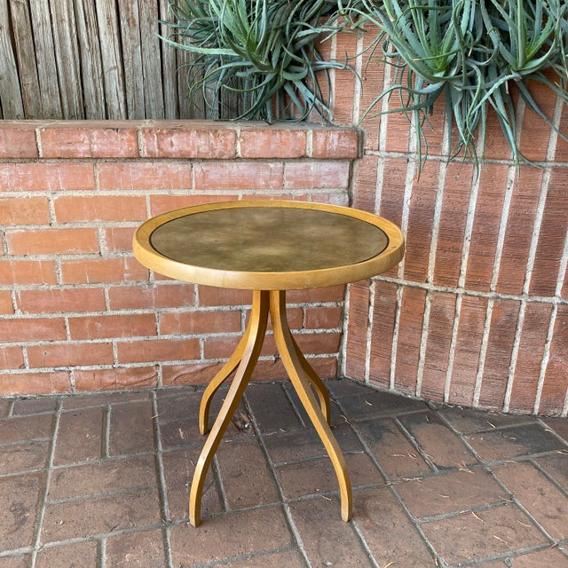 Mid-Century Modern 1960s Kipp Stewart for Drexel Round Leathertop End Table For Sale - Image 3 of 12