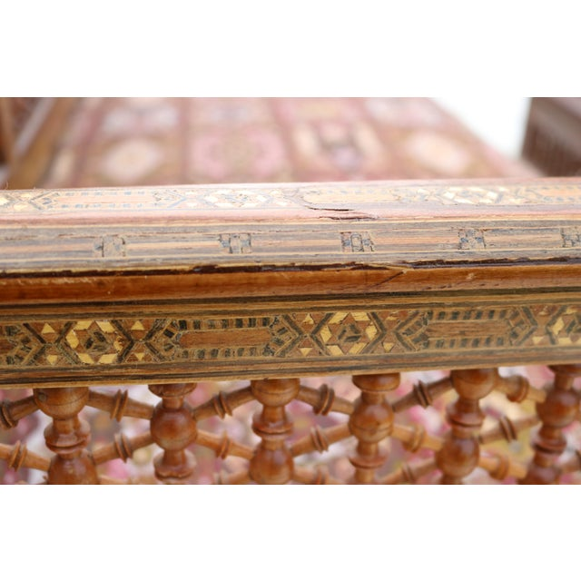 Antique Syrian Moorish Style Inlaid Settee & Tables - Set of 3 - Image 3 of 11