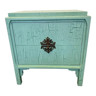 1960s Vintage Crackle Painted Two-Drawer Chest For Sale