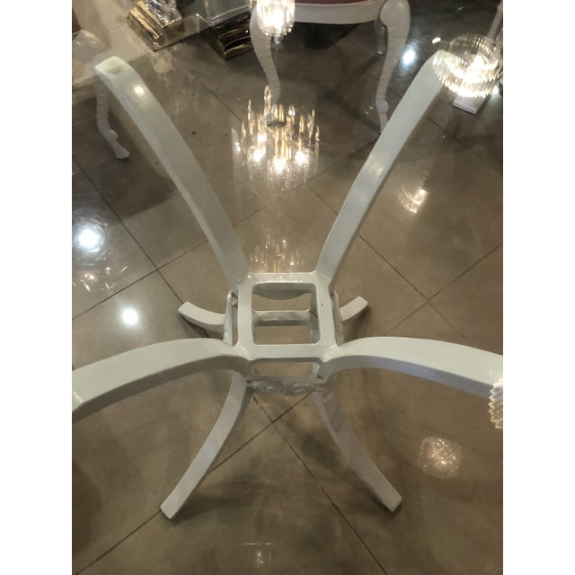 Vintage Brown Jordan Grotto Shell Back White Powdercoated Patio Chairs and Table -Set of 5 For Sale In West Palm - Image 6 of 13