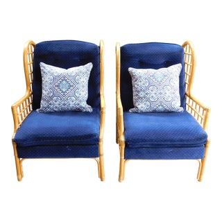 1970s Bauhaus Navy Upholstered Rattan Wingback Chairs - a Pair
