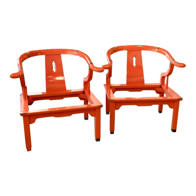Tangerine dreams!! This Hermes orange lacquered James Mont styleMing chairs will make your mouth water! Newly upholstered...