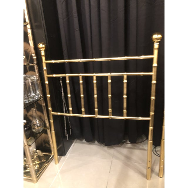 Hollywood Regency Vintage Hollywood Regency Brass Faux Bamboo Twin Size Headboards - A Pair For Sale - Image 3 of 13