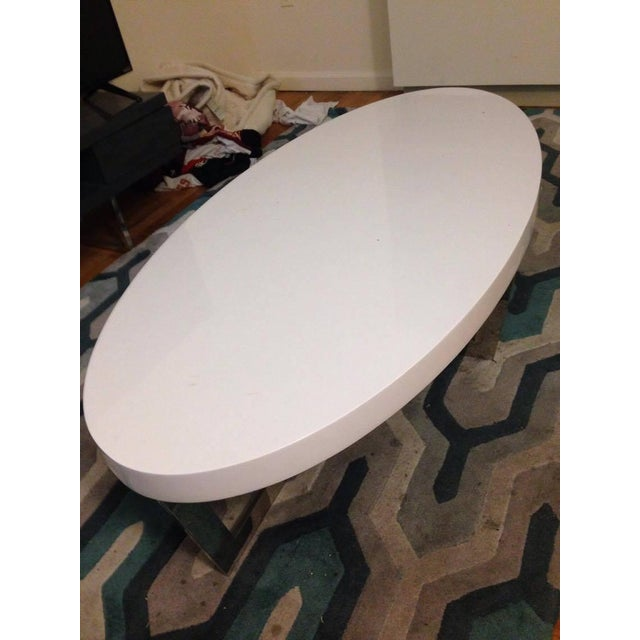 White Oval Oyster Coffee Table - Image 3 of 4