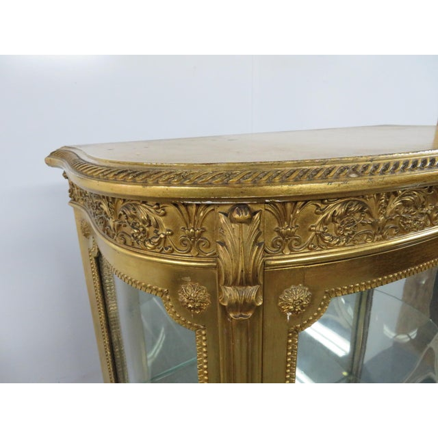 Glass Vernis Martin French Curio Cabinet For Sale - Image 7 of 10