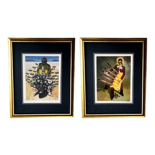Framed Gucci Abstract Motorcycle Shoes & Rockstar Guitar Purse Snake Illustration Art - a Pair For Sale
