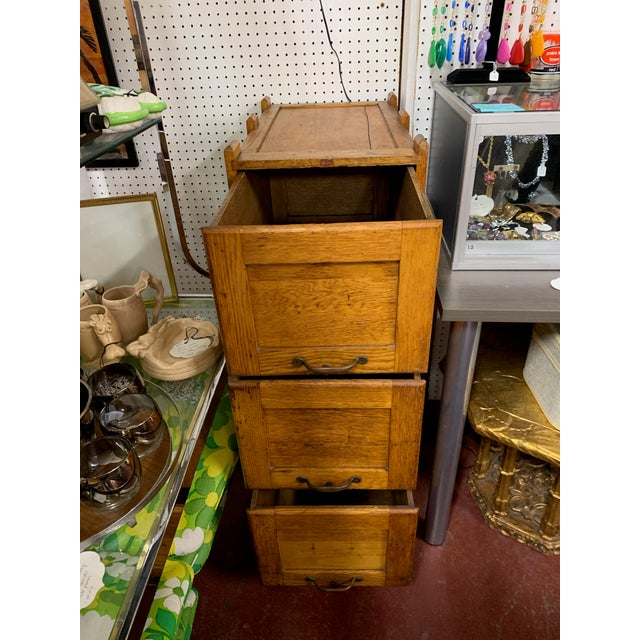 Industrial 1910s Oak Industrial Three Drawer File Cabinet by Weis For Sale - Image 3 of 7