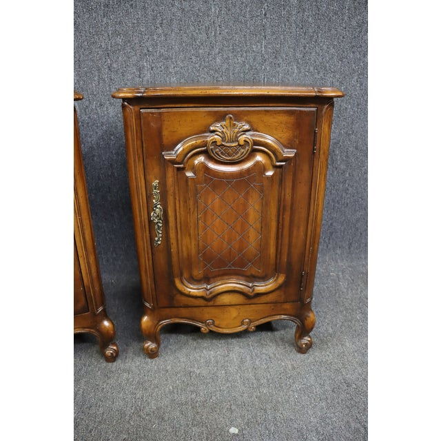 French Louis XV Style Carved Cherry Nightstands - a Pair For Sale - Image 3 of 8