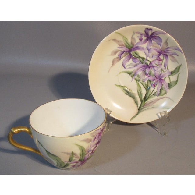 African 1890s H & Co. Haviland Hand Painted Purple African Lilies Cup & Saucer For Sale - Image 3 of 5