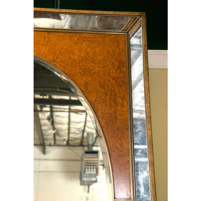 Monumental Burl and Glass Art Deco Mirror For Sale - Image 4 of 7