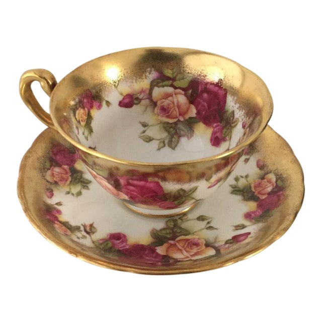 Vintage Royal Chelsea Golden Rose Tea Cup & Saucer - 2 Piece For Sale