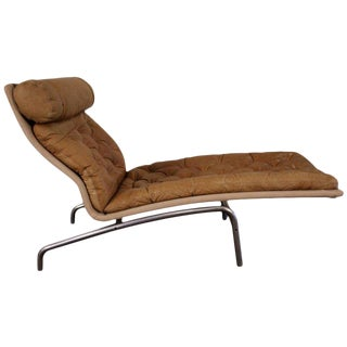 1960s Vintage Arne Vodder for Erik Jorgensen Mobilfabrik Tufted Leather Sculpted Chaise Lounge For Sale