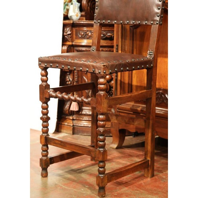 "Large pair of antique stools from France, circa 1870. Raised with a seat height at 29"", these chairs are the right..."