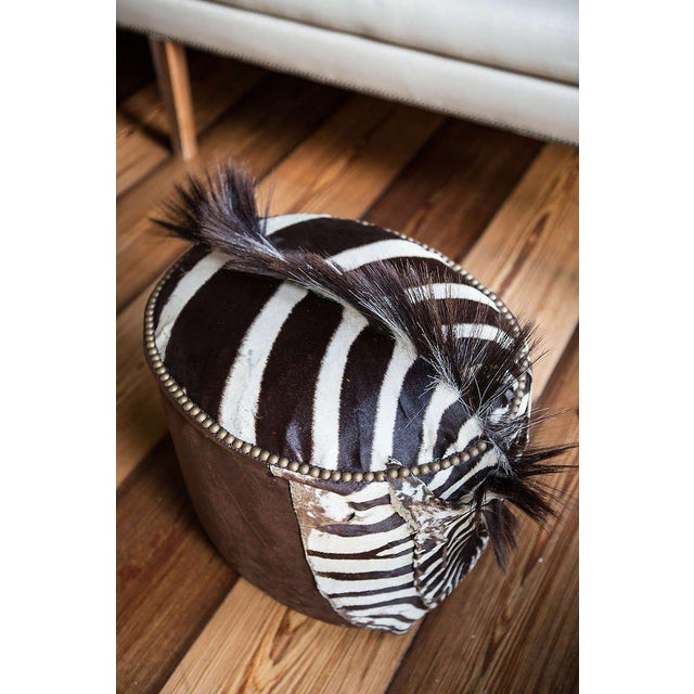 Contemporary Zebra Upholstered Ottoman For Sale - Image 3 of 6