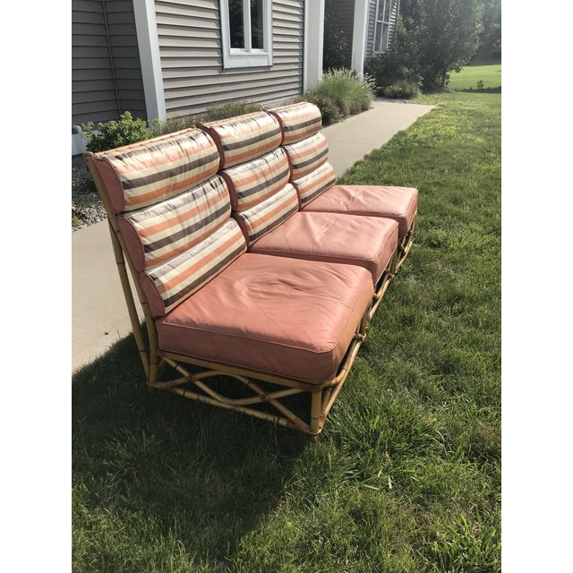 Peach Vintage Mid Century Ficks Reed Patio Outdoor Bentwood Bamboo Sofa, 3 Pieces For Sale - Image 8 of 11